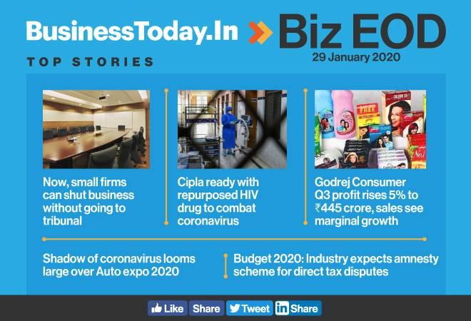 Biz EOD: Govt eases winding-up rules; Cipla ready to combat coronavirus; Godrej Consumer Q3 profit grows