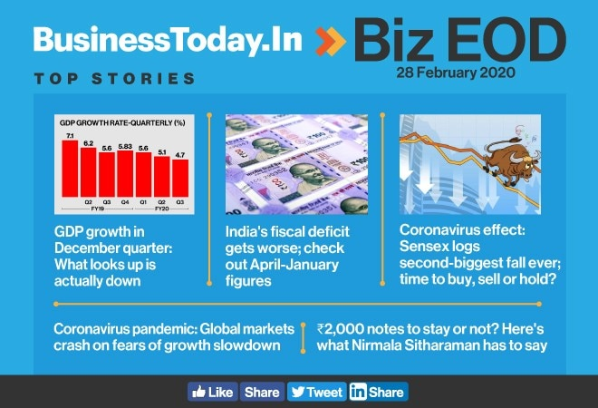 Biz EOD: Truth behind Q3 GDP; Sensex spooked; future of Rs 2000 notes