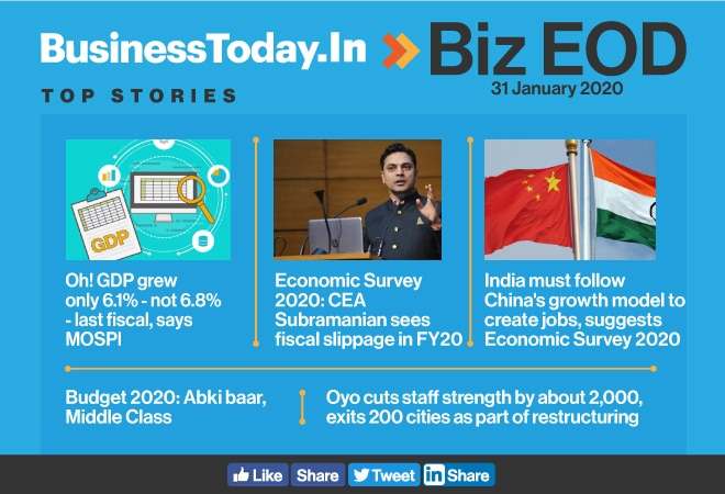 Biz EOD: Sharp correction in FY19 GDP numbers; Budget for middle class; CEA tables Eco Survey