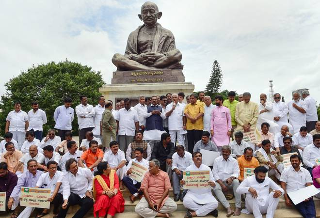 Karnataka crisis: BJP stages dharna at Vidhan Soudha, demands CM's resignation