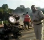 Tractor burnt at India Gate amid protest against farm bills
