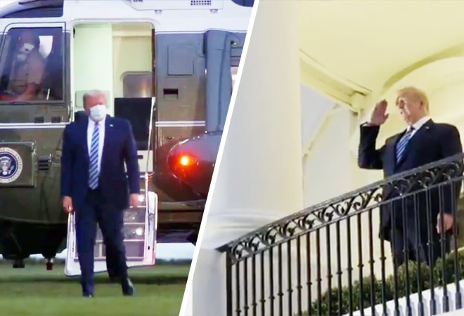 US President Trump returns to White House; removes mask and stages for photo op