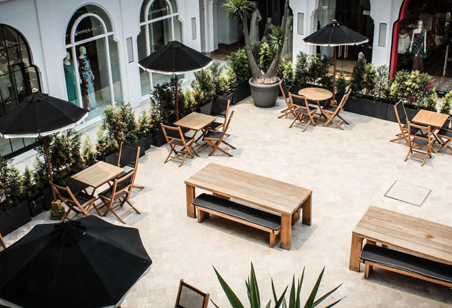 The courtyard where some of the live events take place, also doubles up as an al fresco restaurant.