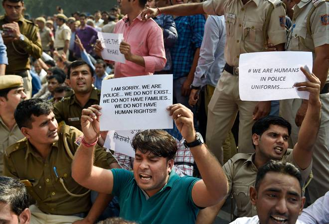 Delhi police protest: Agitated cops condemn attack, say subjected to humiliation