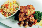 Honey and lemon chicken with rice