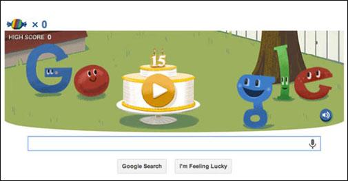 Google celebrates its 15th birthday today