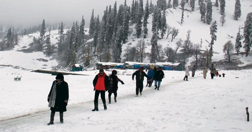 Tourists enjoying Gulmarg