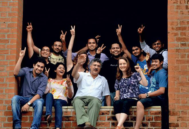 IIM-A Director Ashish Nanda celebrates with students
