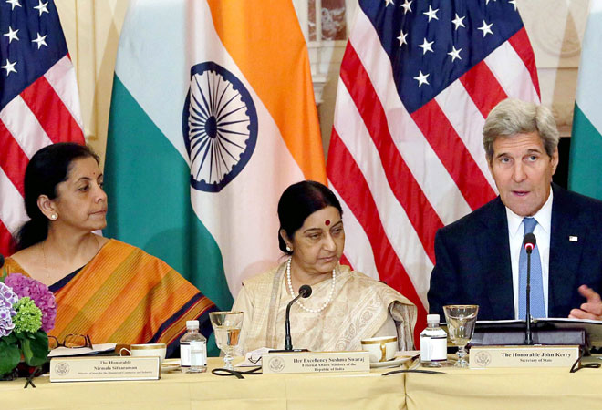 Foreign Minister Sushma Swaraj and US State Secretary John Kerry during India-US Strategic & Commercial Dialogue at the US State Department in Washington DC. Commerce and Industry Minister Nirmala Sitharaman and US Commerce Secretary Penny Pritzker are al