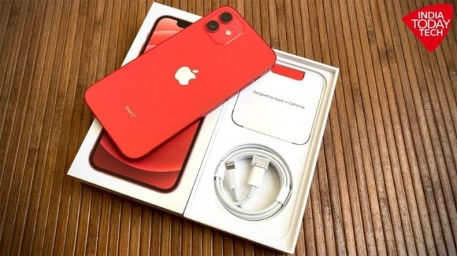 iPhone 12 in red colour.