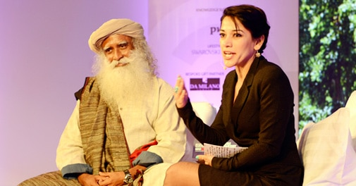 Yogi, mystic and visionary Sadhguru Jaggi Vasudev with TVTN Executive Editor Koel Purie at Business Today MindRush 2013 in Gurgaon on December 14.