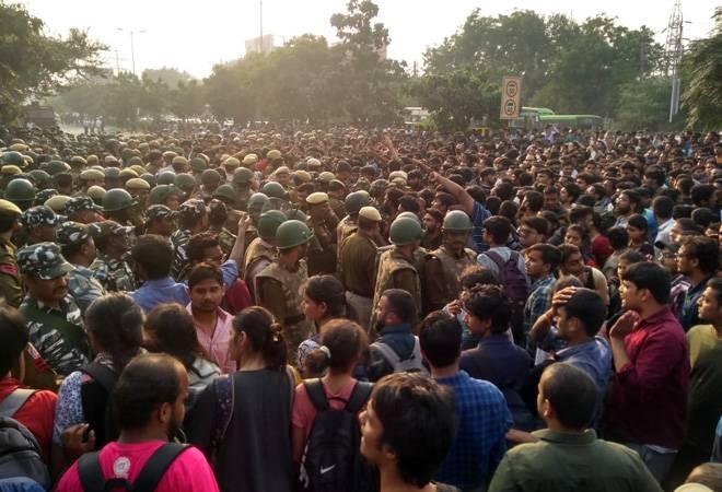 JNU students protest over fee hike, dress code; HRD minister assures help