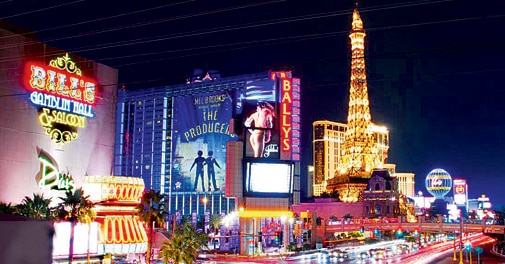 Las Vegas figures prominently in the package itinerary