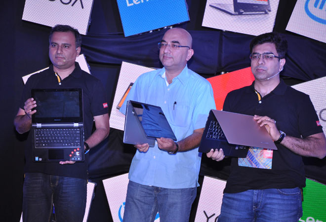 From (Left to Right) Shailendra Katyal, Director - Home and Small Business (HSB), Lenovo India, Sandeep Aurora, Director Marketing and Market Development, Intel South Asia and Amit Chatrath,National Product Head, Lenovo