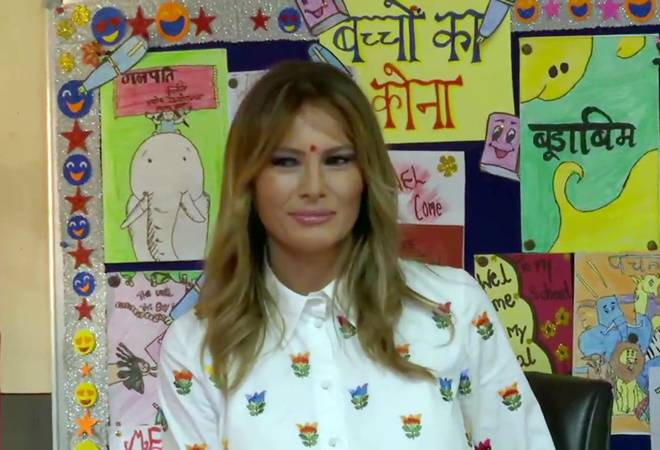 Melania Trump attends 'happiness class' with students at Delhi govt school