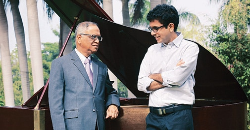 Infosys Executive Chairman Narayana Murthy (left) with son Rohan Murty