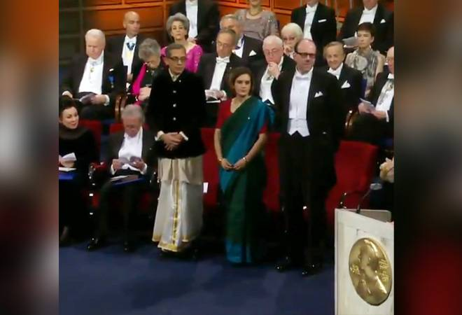 Abhijit Banerjee goes desi; picks dhoti and bandhgala to receive Nobel Prize 2019 in Sweden; watch video