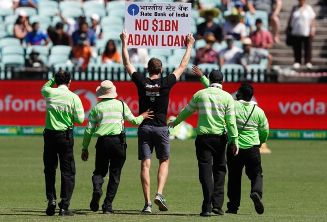 Stop Adani Protesters Disrupt India Vs Australia Match