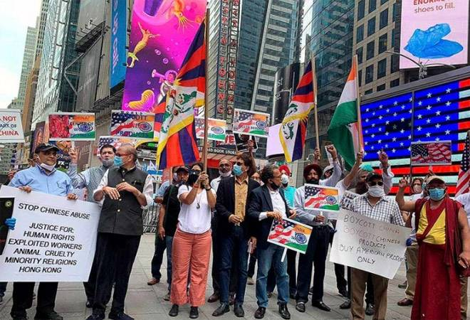 Indian-Americans stage 'Boycott China' protest at Times Square in New York