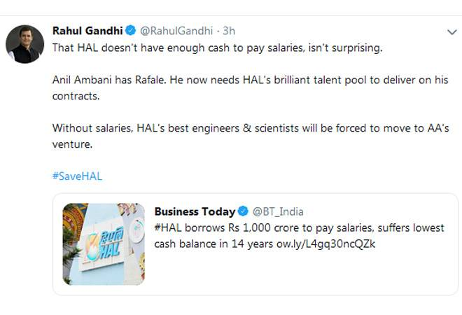 HAL's 'best' scientists will move to Anil Ambani group, says Rahul Gandhi