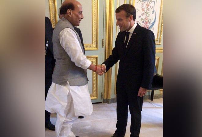 Rajnath meets French President Macron; to receive 1st Rafale fighter jet soon