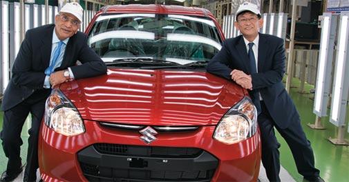 Maruti Suzuki Chairman R. C. Bhargava (left) with MD and CEO Kenichi Ayukawa