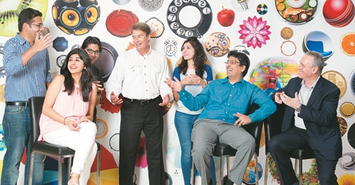 RIL Chief HR Officer Prabir Jha (second from right) with colleagues at Reliance Corporate Park
