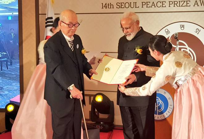PM Modi receives Seoul Peace Prize in South Korea; urges nations to come together to fight terrorism