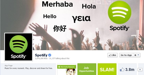 Screenshot of Spotify facebook page