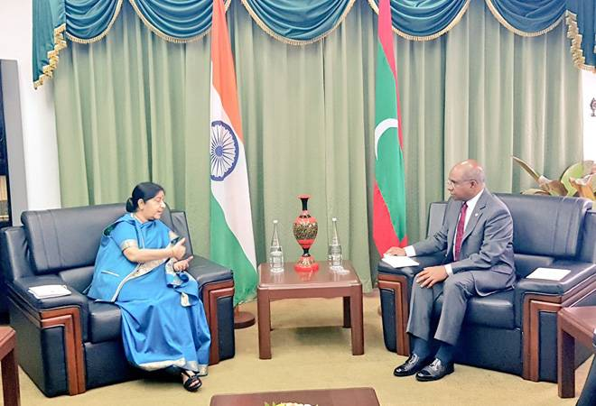 EAM Sushma Swaraj arrives in Maldives for two-day bilateral trip