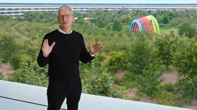 Tim Cook during the September 2020 event from Apple Park