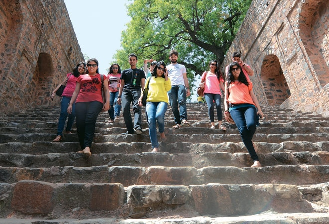Google employees at Agrasen ki Baoli in New Delhi