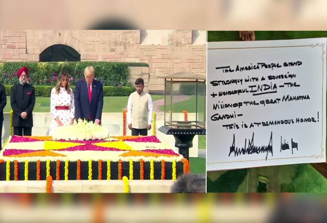 'US stands with strongly India': Trump, Melania in visitors book at Raj Ghat