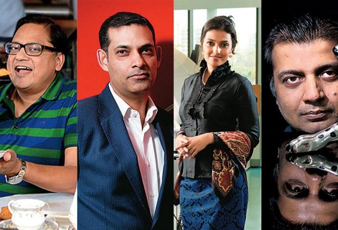 (L-R) Anmol Bakers' MD Gobind Ram Choudhary, CMS Infosystems CEO Rajiv Kaul, Metropolis Healthcare's Ameera Shah, Shri Lakshmi Metal's Chairman Sanjay Gupta