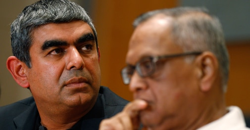 Newly appointed Infosys CEO Vishal Sikka (left) with Chairman Narayana Murthy