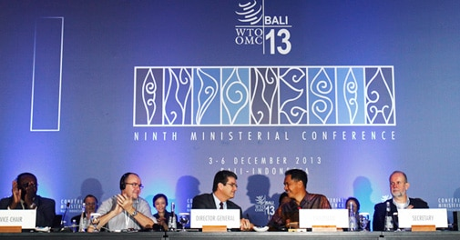 Commerce Minister Anand Sharma (centre) at the WTO ministerial conference at Nusa Dua, Bali.