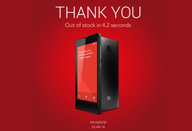 Xiaomi Redmi 1S out of stock in 4.2 seconds