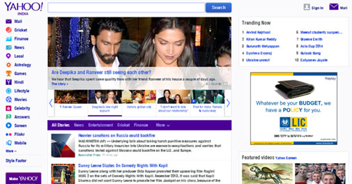 Yahoo refreshes home page for India