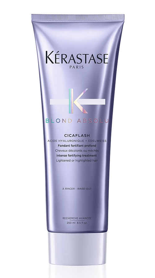 Kérastase Blond Absolu Bain Ultra-Violet Anti-Brass Purple Shampoo, `2,100, and Cicaflash Conditioner, Rs.2,300