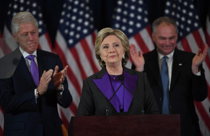 Hillary Clinton wearing purple at her 2016 concession speech in New York City.