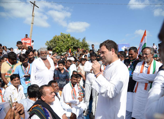 Rahul Gandhi at a rally on Monday