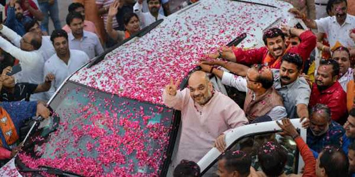 On May 15, Amit Shah bragged of a '15th straight state win', a tad too soon. Photo: PTI