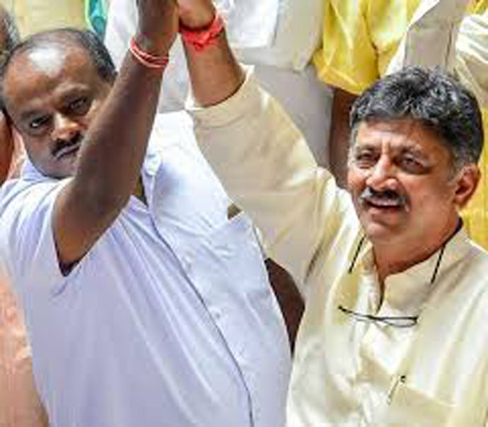 King and king-maker: HD Kumaraswamy of the JD(S) will get the CM's chair thanks to the efforts of the Congress' DK Shivakumar. Photo: PTI