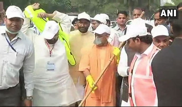 Adityanath sweeping the Taj Mahal did not go down well with the fans of his Tejo Mahalaya theory. Photo: ANI