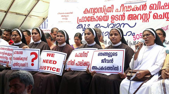 Nuns protest in Kochi on September 8 against the alck of action against the accused Bishop.