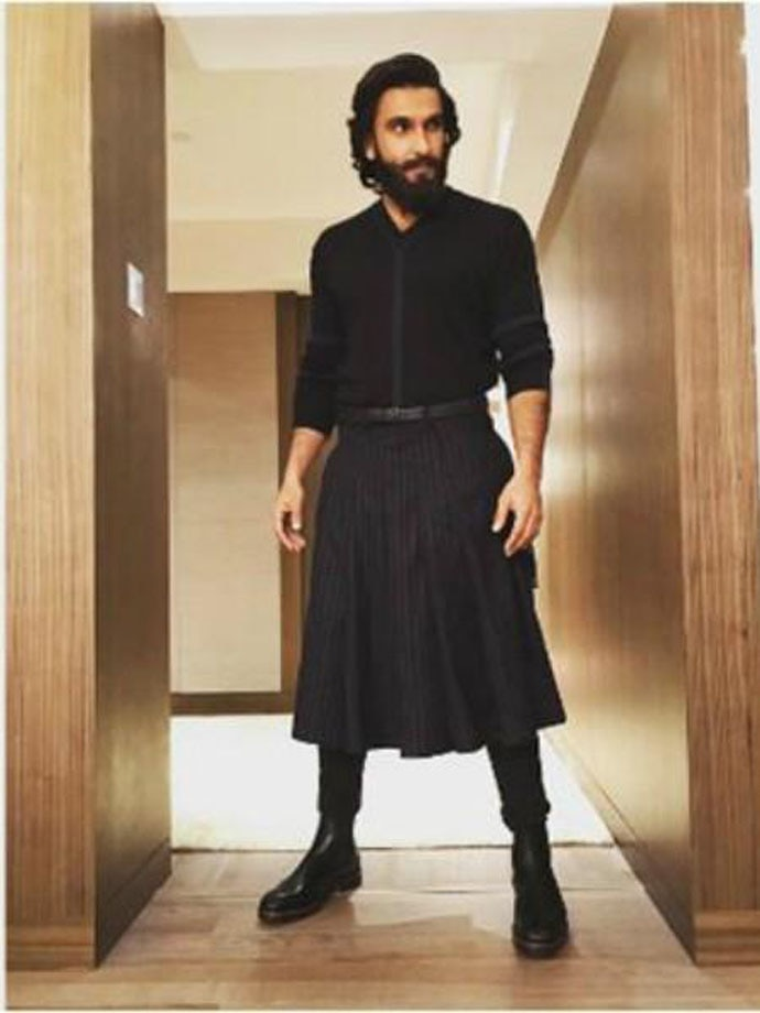 Sir and his skirts: On different occasions, Ranveer has been known to wear this smart black skirt...