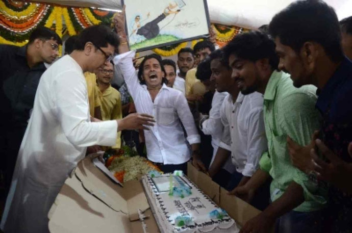 Fearsome, but fun: On his birthday in June, Raj Thackeray cut a cake shaped like an EVM.