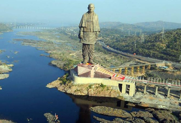 The statue has been built in an ecologically sensitive zone in the Narmada riverbed