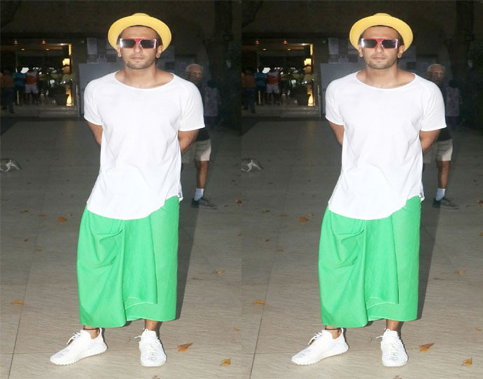 and this cross between a towel and a lungi. In neon green.