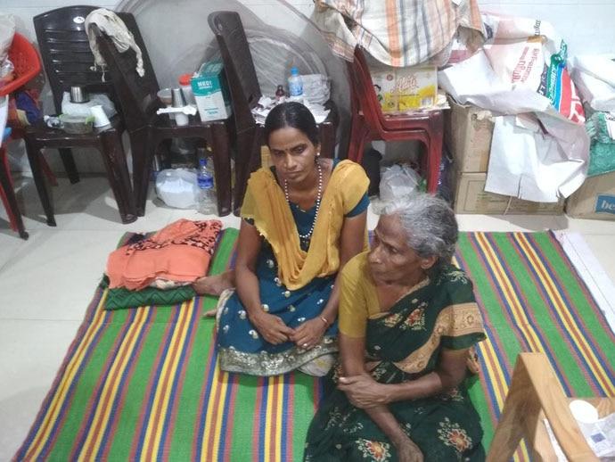 Salila Kumari and her mother Sarasu at the relief camp.